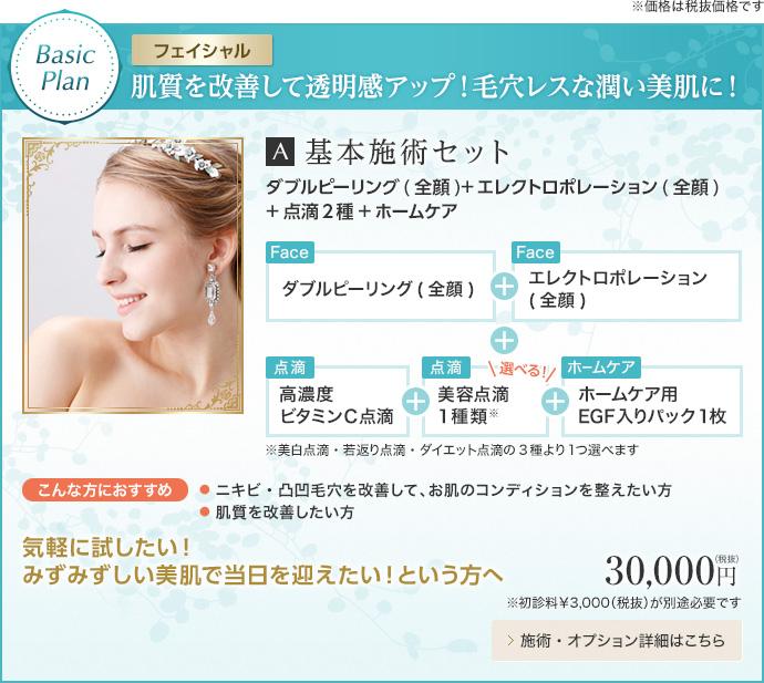 Basic Plan 【フェイシャル】肌質を改善して透明感アップ!毛穴レスな潤い美肌に!