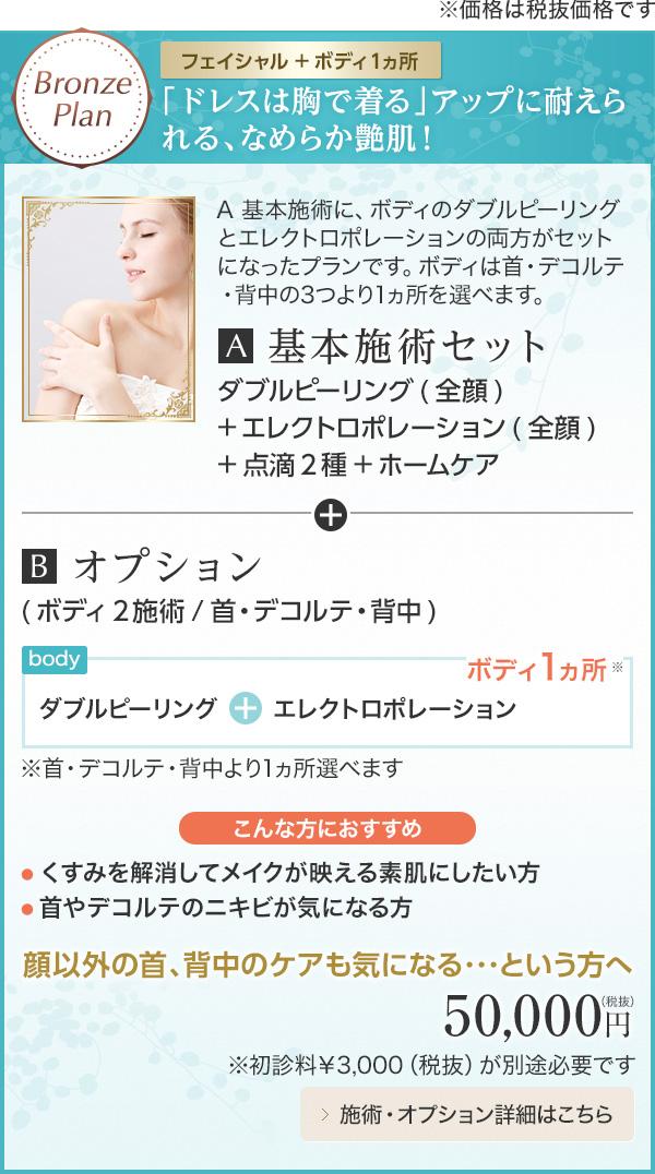 Bronze Plan 【フェイシャル+ボディ1ヵ所】「ドレスは胸で着る」アップに耐えられる、なめらか艶肌!