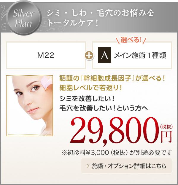 Silver Plan シミ・しわ・毛穴のお悩みをトータルケア!M22+メイン施術1種類 29,800円