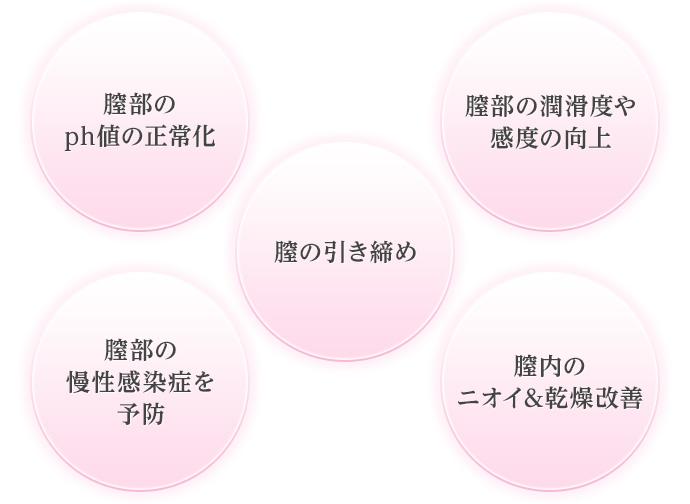 膣部のph値の正常化 膣の引き締め 膣部の潤滑度や感度の向上 膣部の慢性感染症を予防 膣内のニオイ&乾燥改善